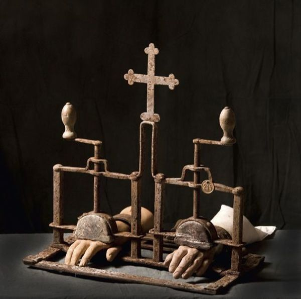 Hand Crushing Instrument. Wrought Iron. An Inquisition Torture Device.  The cross is a lovely touch!