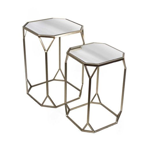 Found It At Allmodern 2 Piece Metal Mirror End Table Set 134 Between