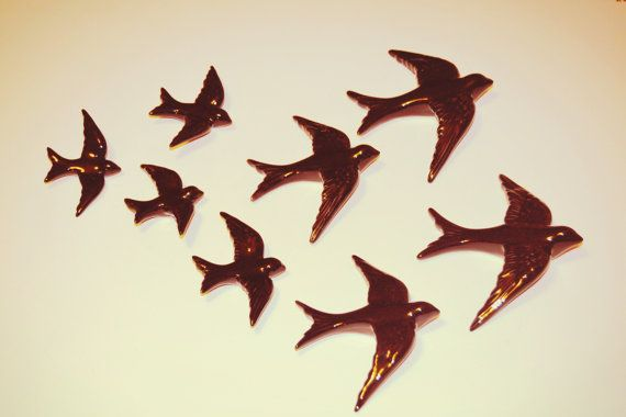 Pack of 8 or 10 hanging swallows in 4 different par FeiradeBarcelos
