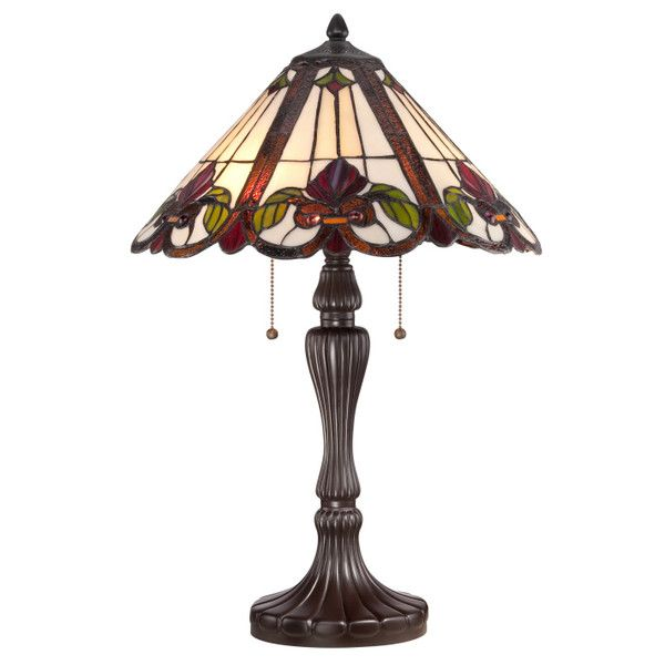 "Quoizel Fields Tiffany 24"" H Table Lamp with Emprire Shade & Reviews 