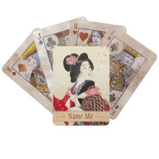 Suzuki Kason Sakura japanese woman lady art Deck Of Cards