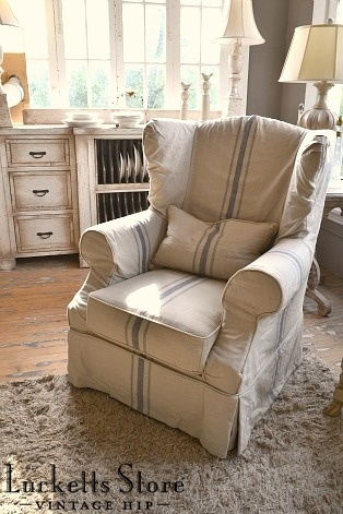 Slip Covered Wing Back Chair | Old Lucketts Store