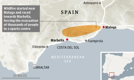 Several thousand people have been evacuated after a huge wildfire raging out of control in southern Spain reached the edge of the tourist resort of Marbella on the Costa del Sol, Spanish authorities say.    The fire broke out near the port city of Malaga late on Thursday and raced westward, fanned by strong winds and high temperatures.