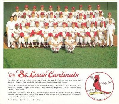 1968- Cardinals. 5 players on the 68 cardinals team are Hall of Famers. Including- Bob Gibson, Lou Brock, Orlando Cepeda, Steve Carlton, and manager- Red Schoendist. Cardinal Baseball legends- Curt Flood, Mike Shannon, and Roger Maris also played on this team.