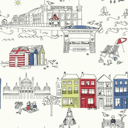 Brighton Wallpaper featuring illustrations of the Royal Pavilion, Hove beach huts, the Palace (Brighton) Pier and Brighton beach