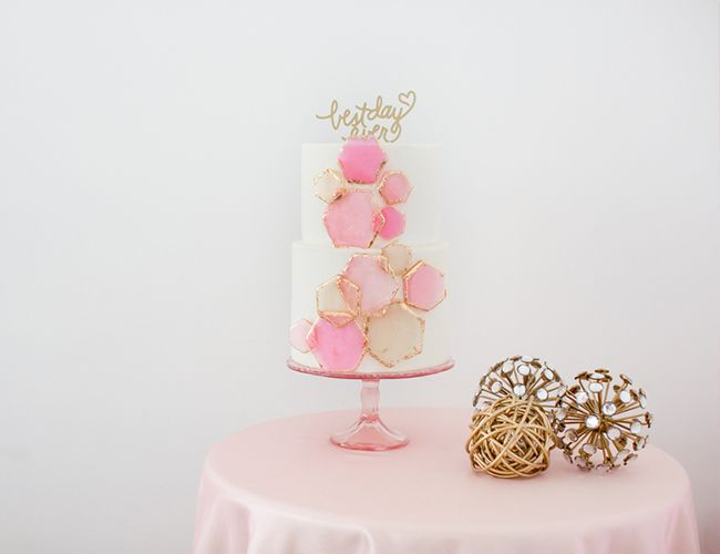 Geometric Pink Wedding Inspiration - Inspired By This-geometric pink wedding cake