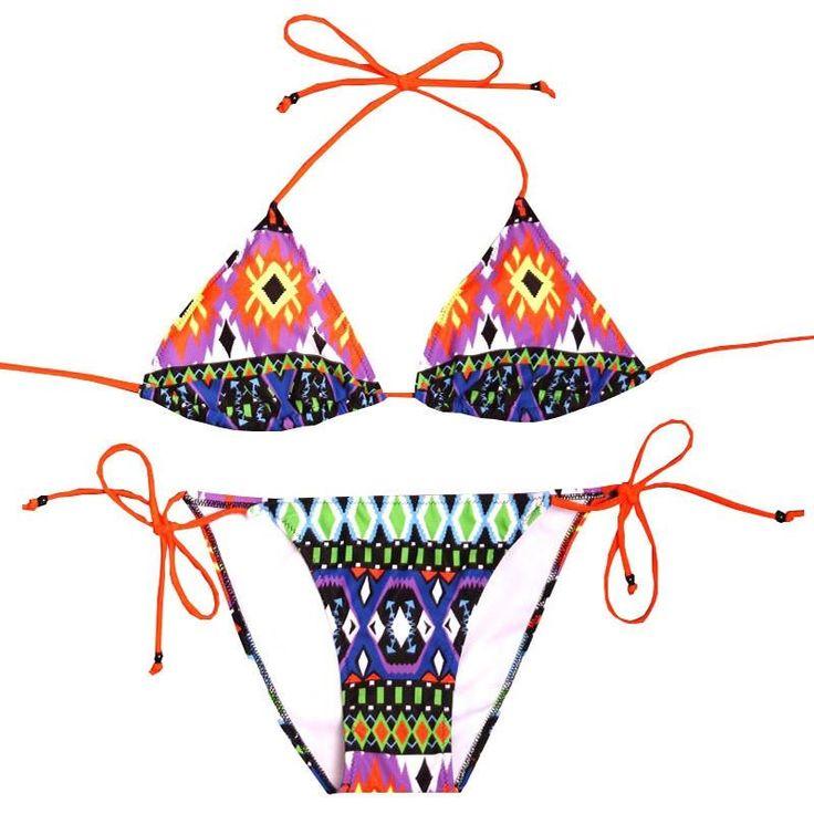 L.Bolt Double Strip Triangle Biquini Electric Bikini, Mujer, Verde, S