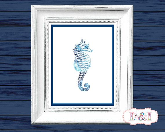 Seahorse - Wall Art Print ~ Instant download, JPG PDF Printable