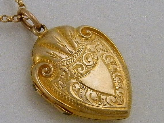 "Antique Gold Locket 1910's 9K ""Marriage"" Edwardian Gold Locket Necklace Wedding Anniversary Jewelry Gift"