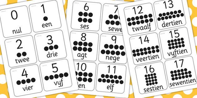 * NEW * Afrikaans 0-20 Number Flash Cards - my daughter loved these