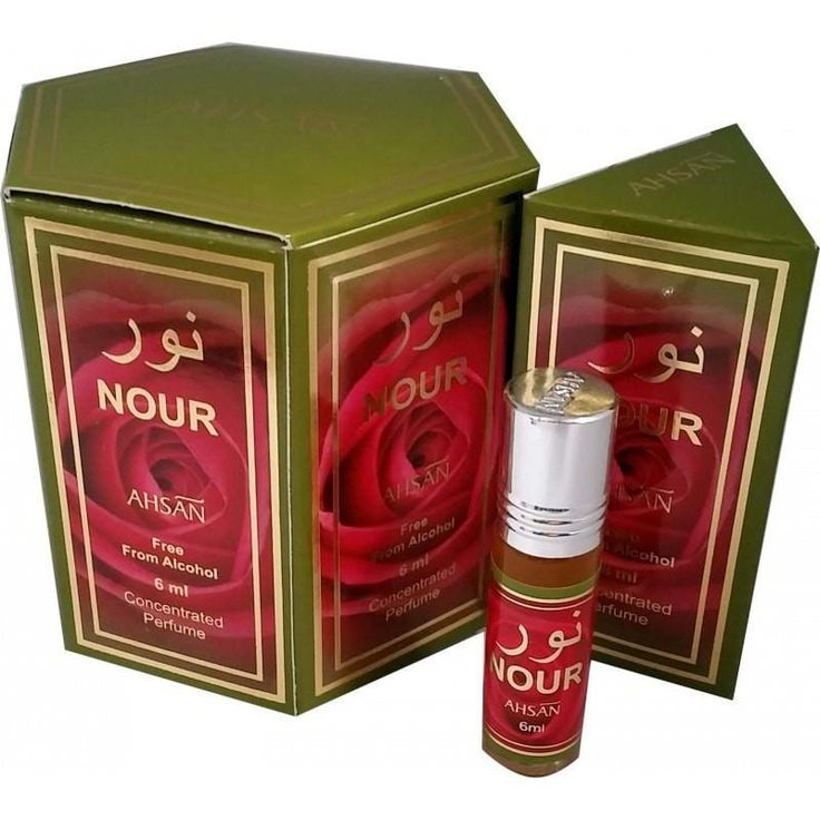Nour Perfume Oil by Ahsan. Inspired by the deserts of Arabia and caters to the Arabian tastes for perfumes. It has a heavy and warm floral tone that is preferred by people in the Middle East. Nour is a exquisite blend of tangy orange and golden honey with middle tones that are defined by floral accents of lily, rose and saffron. The final notes are heady sandalwood and refreshing sweet vanilla.