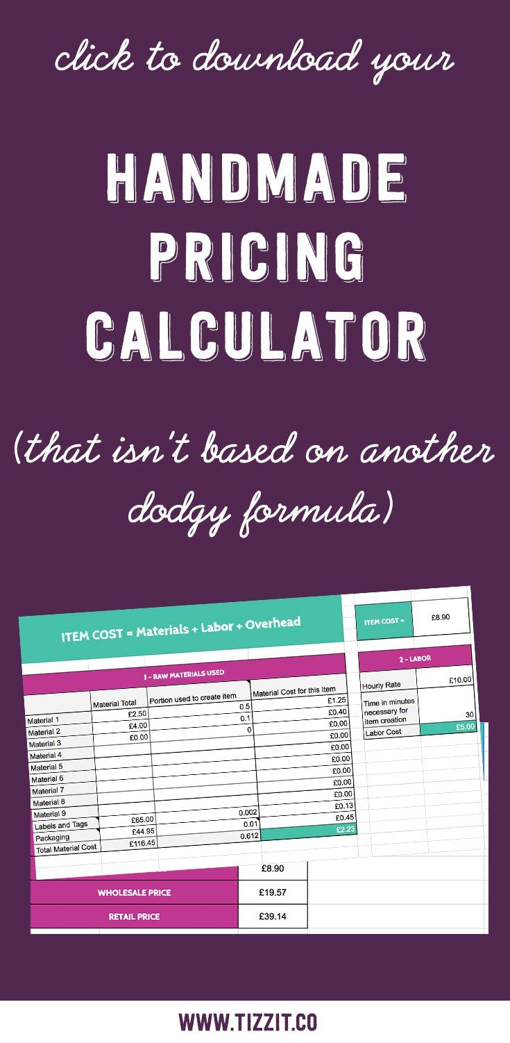 Grab this free handmade pricing calculator and let it do the math for you! Pricing your handmade products is a crucial step, and most of the pre-made formulas you can find online won't help you build a successful and profitable business. Click to access it now or Pin to download it later!
