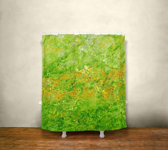 Bright Green Shower Curtain, Water Texture Colorful Bathroom Decor,  Yellowstone Prismatic Spring, Green