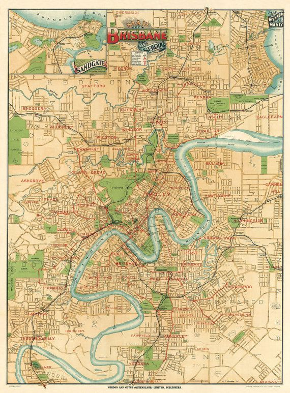 Antique Brisbane  city map and surroundings  Print - 34 x 25""