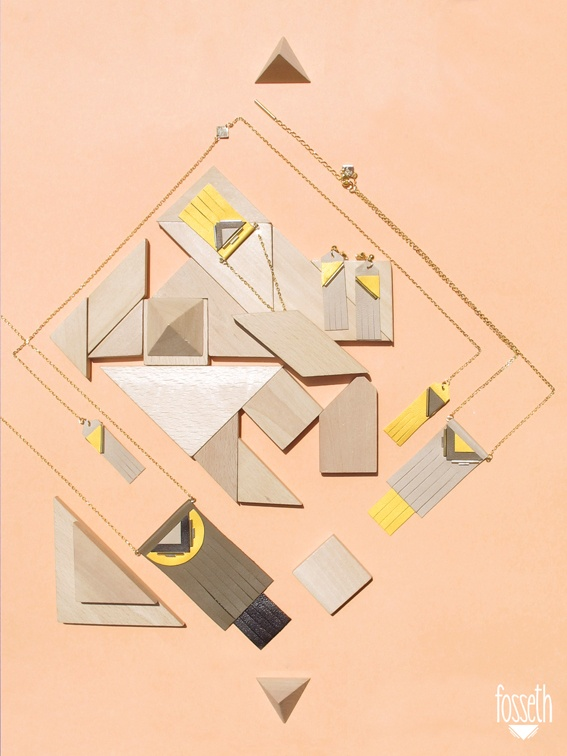 Peach board ▾ Yellow & Kaki ▾  #necklace #earrings #geometric #wood #jewels
