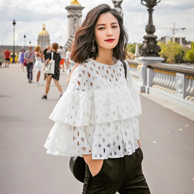 Cheap blouse tree, Buy Quality shirt barcelona directly from China blouse long Suppliers: New 2015 Summer Plus Size Women Fashion Blouses Shirts o neck long sleeve lace hollow out solid loose ruffles blouse lad