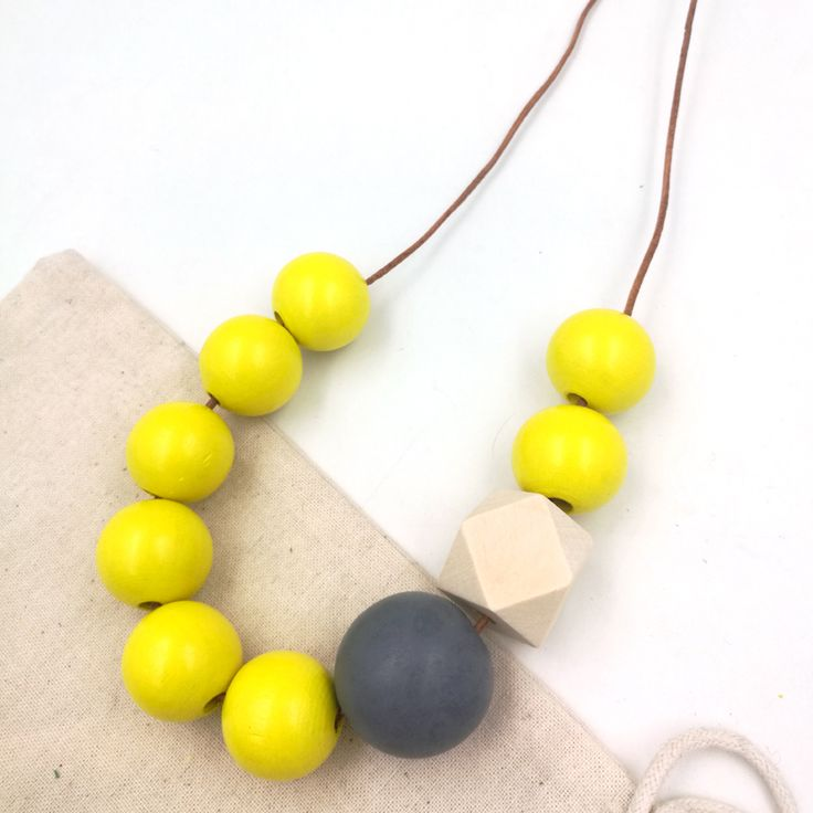 Geometric necklace wooden boho Pastel grey yellow wood bead necklace unique leather cord statement necklace NW140