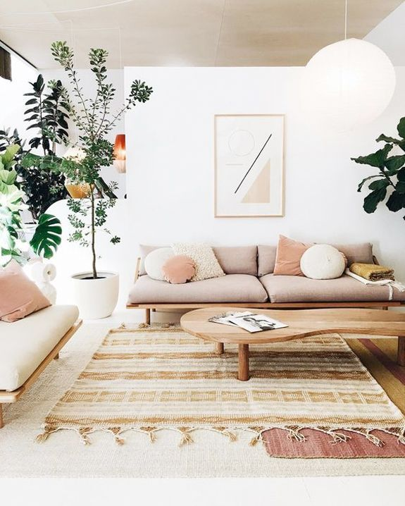 Modern Living Room With Minimal Geometric Art And Neutral Color Palatte Sfgirlbybay Living Room Designs Minimalist Living Room Neutral Living Room