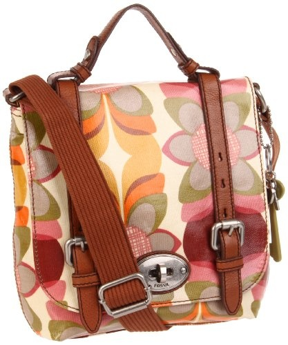 Fossil Key Per Organizer Flap Cross Body  -Orange Multi