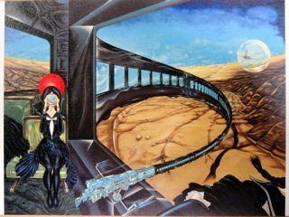 円環列車・B-飛行する蒸気機関車」 中村宏「図画事件1953-2007」(東京都現代美術館)