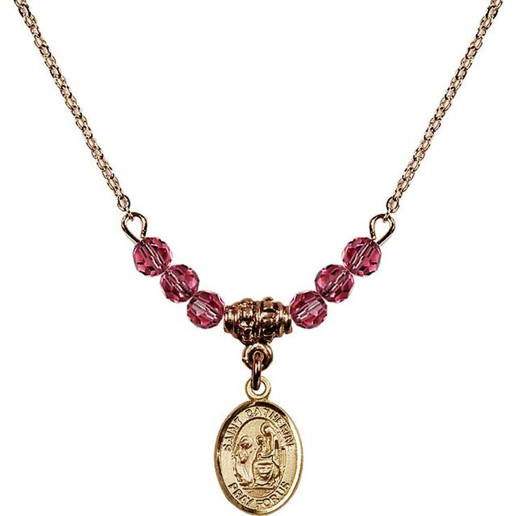 18-Inch Hamilton Gold Plated Necklace with 4mm Rose Pink October Birth Month Stone Beads and Saint Catherine of Siena Charm. 18-Inch Hamilton Gold Plated Necklace with 4mm Rose Birthstone Beads and Saint Catherine of Siena Charm. Pink Rose represents Pink Tourmaline, the Birthstone for October. Hand-Made in Rhode Island. Lifetime guarantee against tarnish and damage. Hamilton gold is a special alloy designed to have a rich and deep gold color.