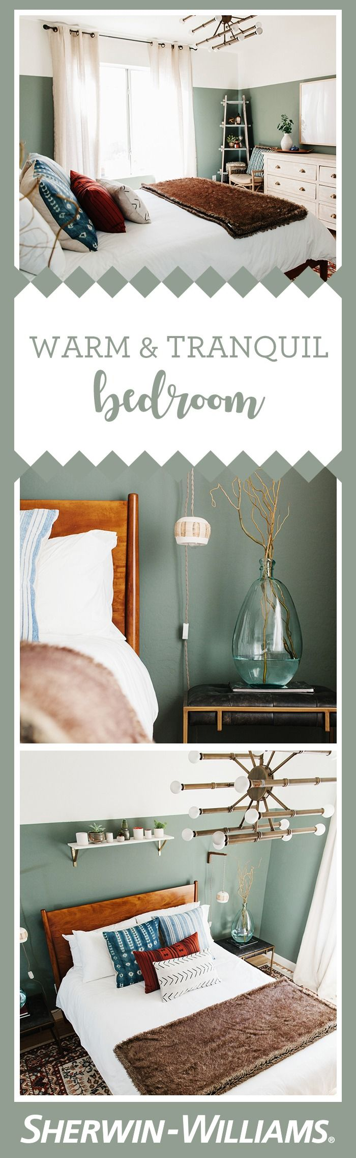 Words like dreamy, warm and tranquil perfectly encapsulate this guest room by @alexandraevjen. From the mid-century bed frame to the traditional oriental rug to the eclectic light fixtures, there's a lot to love about this guest room. An earthy palette of creams, browns, blues and rust colors come together to complement the sage green walls in Retreat SW 6207. Photos by @rennaihoefer.