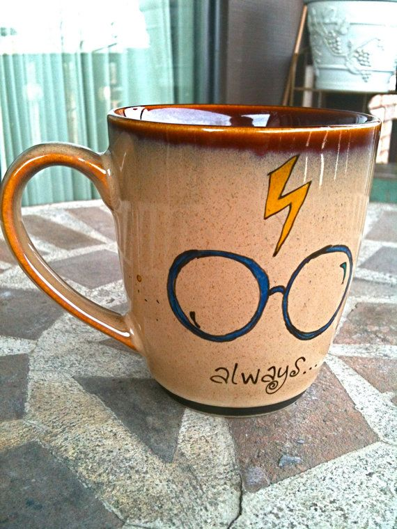 The Original Always Mug Small Antique Brown Harry Potter Owl Hand Painted With Lightning Bolt And Gles In 2018 Loves Coffee