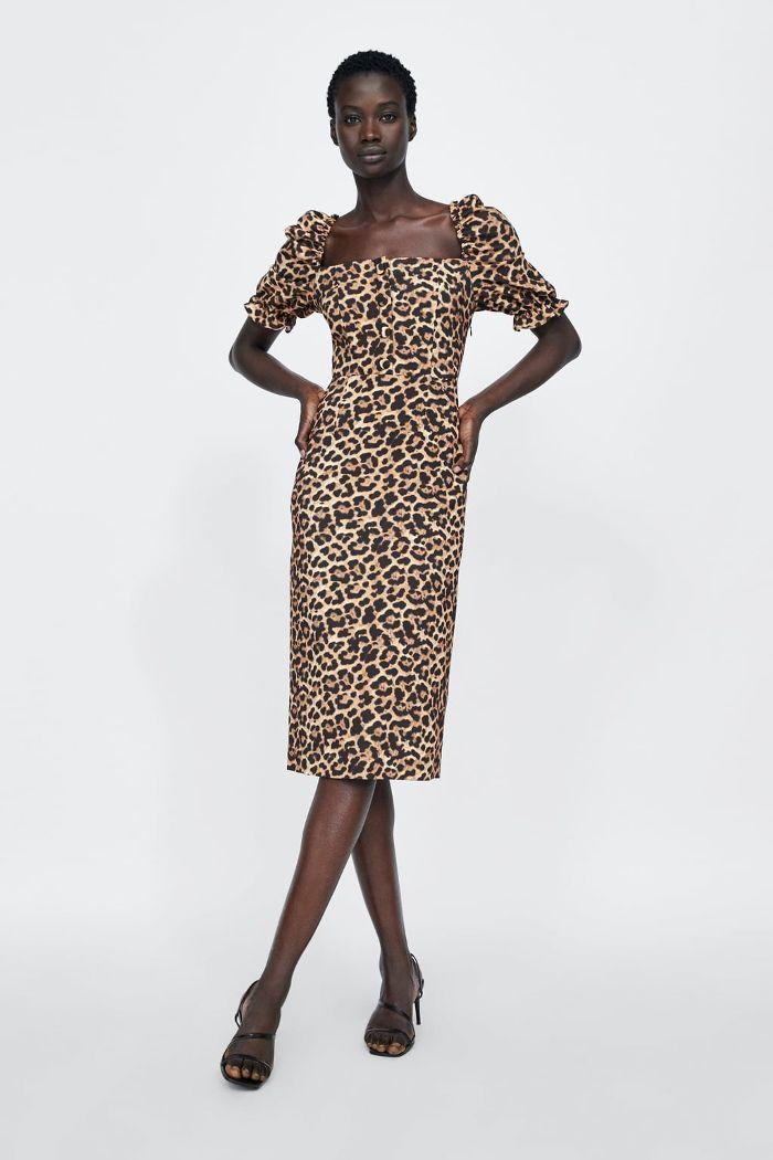 Long Leopard Print Dress Dresses Jumpsuits Woman Zara Australia Animal Print Dresses Chiffon Long Sleeve Print Clothes