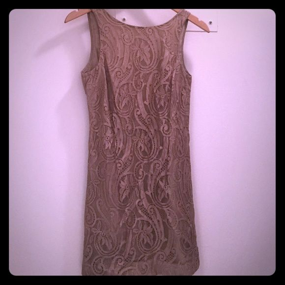 Tibi gold lace mini dress SUMMER SALE!! Perfect for summer weddings! Shimmery gold lace sheath dress with low back. Perfect for parties. Worn only once - in like new condition! Tibi Dresses Mini