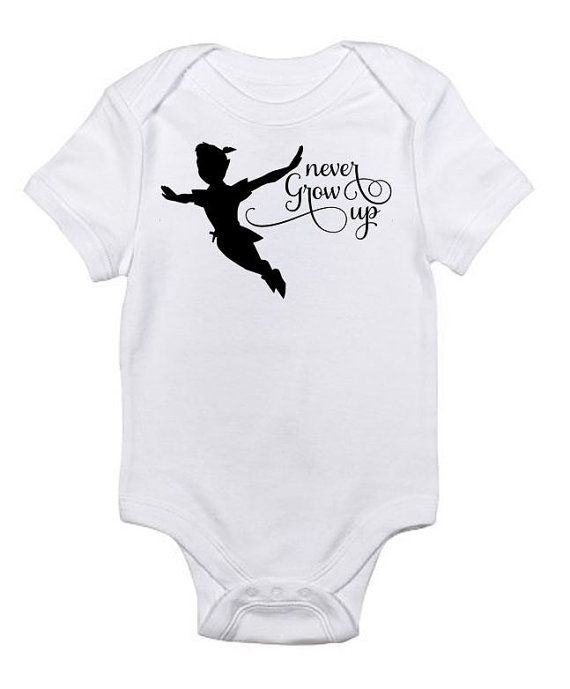 Never Grow Up Peter Pan Disney Bodysuit Onesie by FatOwlKids