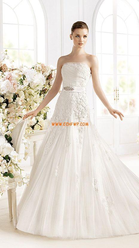 Robe de mariée 2014 A-line tulle appliques sans bretelles