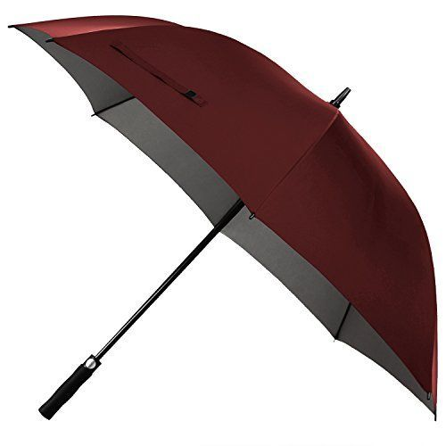 Windproof Golf Umbrella,Rainlax 62 inch Oversize Canopy Automatic Open Large Outdoor Golf umbrella Rain&Wind Repellent Sun Protection Umbrellas (Wine) *** To view further for this item, visit the image link.