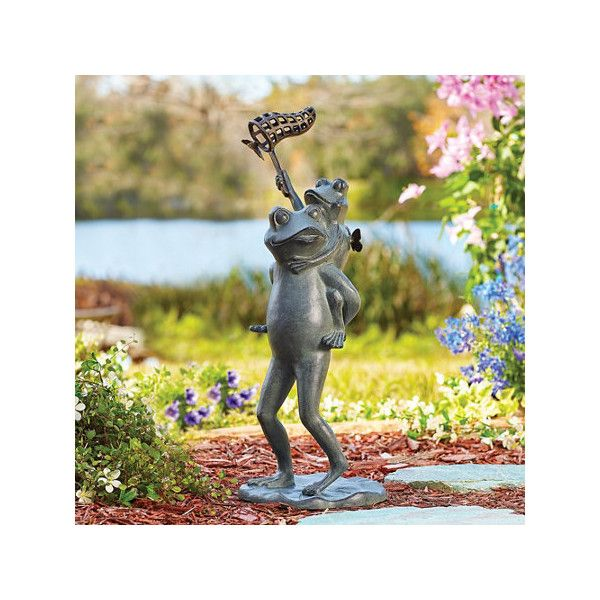 Butterfly Chasers Garden Statue ($172) ❤ Liked On Polyvore Featuring Home,  Outdoors,