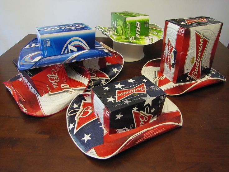 Beer Box Cowboy Hats - three beer can boxes and spray adhesive make up one hat, I added a finished touch by adding fabric edging and ran it through my sewing machine