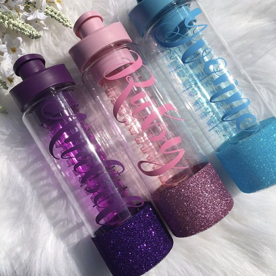 Personalised Water Bottle / Glitter Water Bottle / Fruit