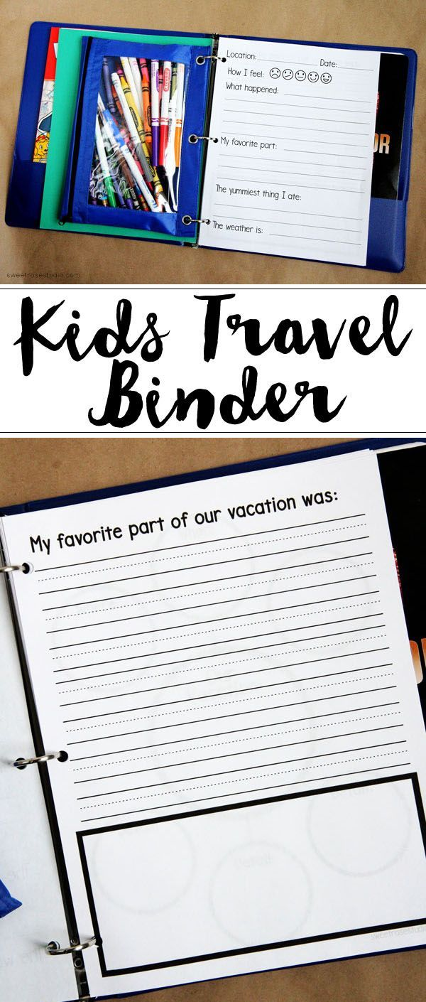 Create your own Kids Travel Binder to keep your kids busy during long road trips and to keep them learning while on vacation!