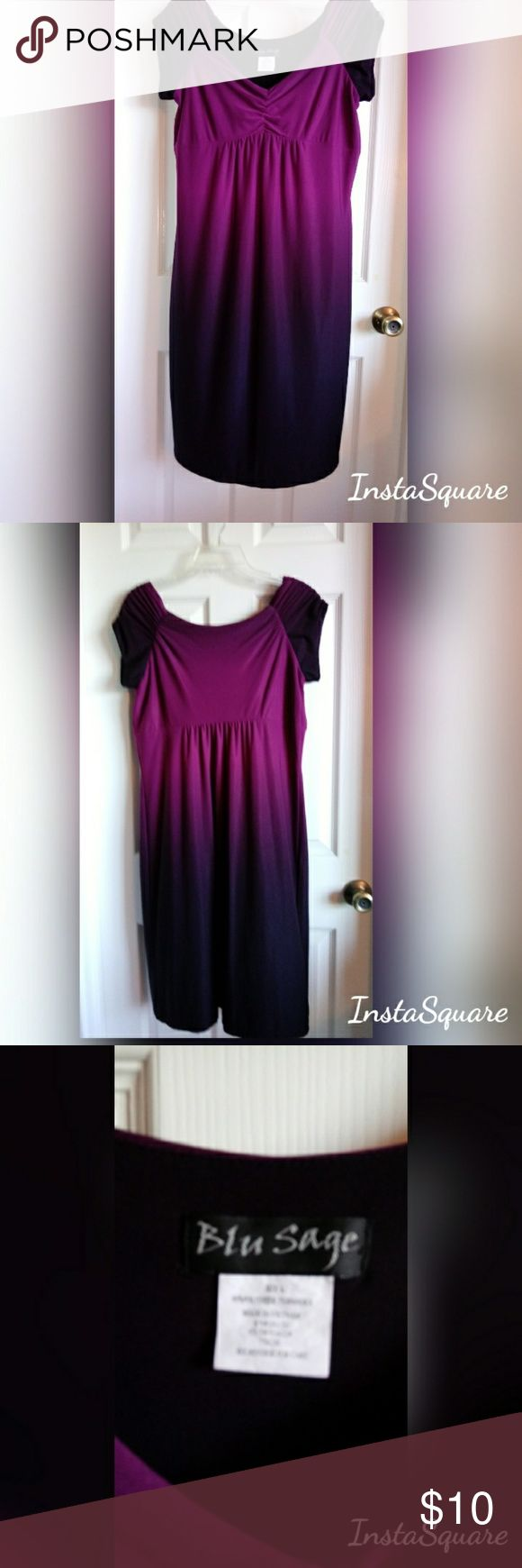 """{Blu Sage} Purple Black Monte Semi-Empire Waist Dr {Blu Sage} Purple Black Monte Semi-Empire Waist Dress.  Super Flattering Cap Sleeve Pre Loved Minimal wear Measurements approximate laying flat: armpit 18"""", under bust 17.5"""", top of back to hem 35""""  I'm 5'5"""" hit above knee.   My mom was Original owner.   She gave to me but it doesn't fit.  Stretchy poly spandex blend.  Needs loving home.  💗 Blu Sage Dresses"""