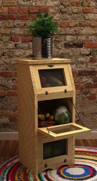 Estante porta legumes  Estante de pinus com tela de arejamento  Tamanho: 30 x 25…