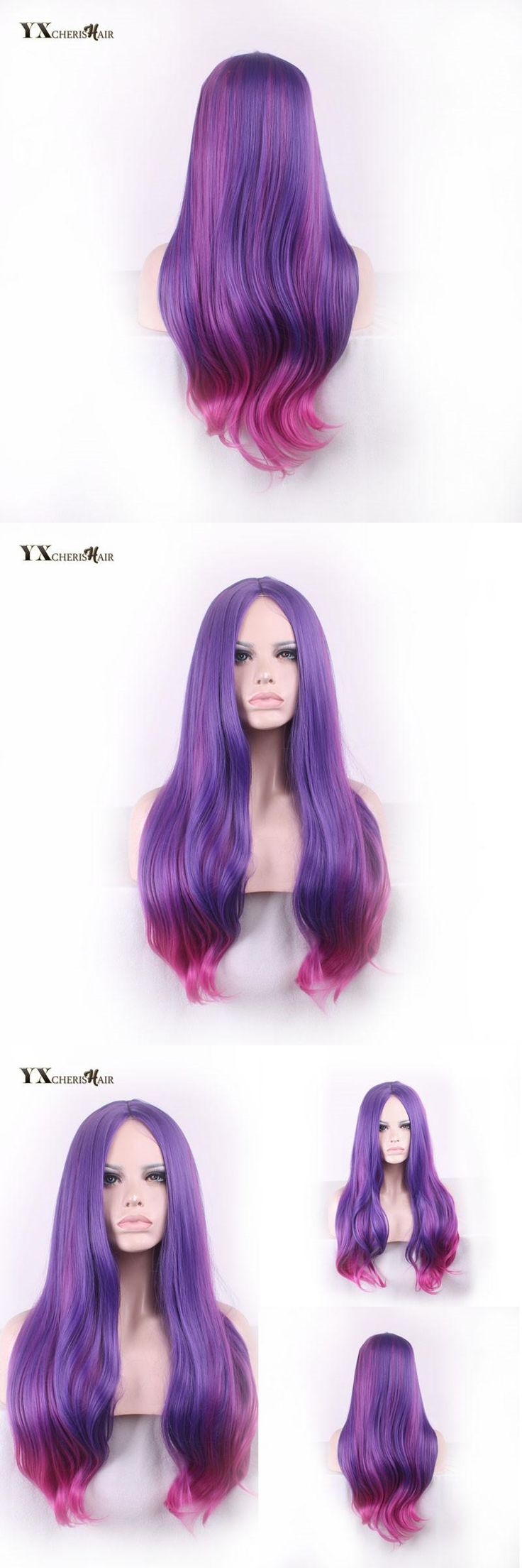 Discount Synthetic Purple Wigs for African American Women Perruque Cosplay Custome Wig Caps with Middle Part YXCHERISHAIR