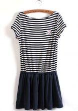 Navy White Striped Short Sleeve Pleated Dress $22.30