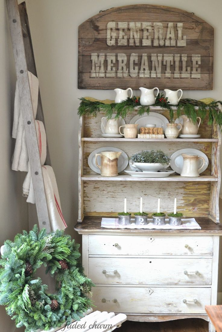 Uncategorized/vintage french kitchen decor/of french country d cor and adds elegant french charm to a kitchen - Ironstone Vintage Mercantile Sign Hutch Neutrals Ladder And Grainsacks Faded Charm Holiday Home Tour