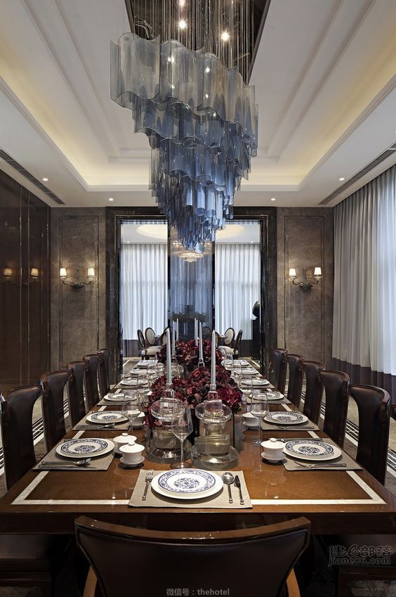 Artsy Chandelier In Dinning Room