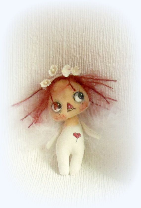 Tiny Raggedy Anne Angel Fairy cloth doll by suziehayward on Etsy