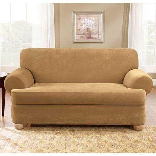 Leather Sofa Antique Stretch Pique Piece T Cushion Sofa Surefit http