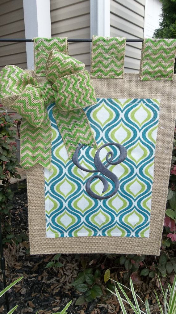 Embroidered Turquoise and Lime Green printed duck and burlap Garden flag 12 x…