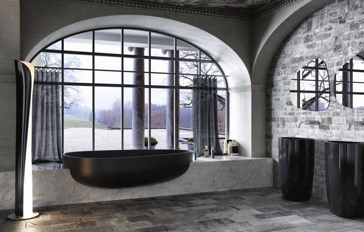 AMAZING bathroom! Are you in or out? Natural stone everywhere! oval Pietraluce® bath-tub BEYOND BATH GLASS
