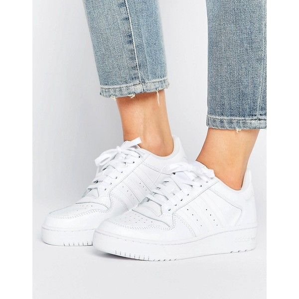 adidas Attitude Revive Leather Trainers (€71) ❤ liked on Polyvore featuring shoes, sneakers, white, high top sneakers, white high tops, adidas high tops, adidas jersey and perforated leather sneakers