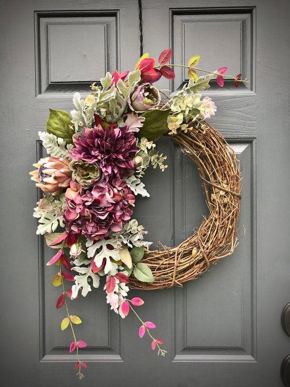 Fall Wreath Hydrangea Wreaths Purple Door Wreaths Fall Door Decor