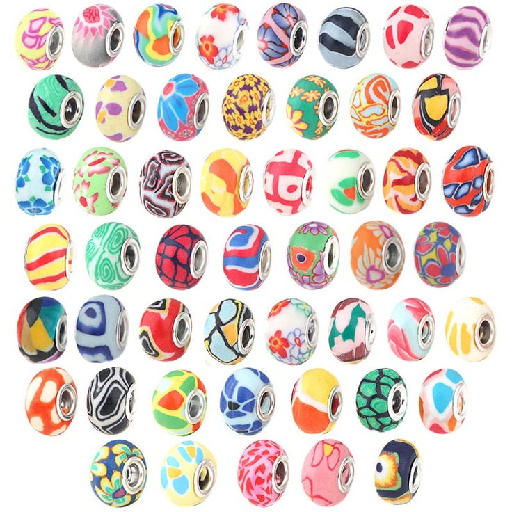 100 Silver Fimo Polymer Clay European Bead Charm Lot - Beads, Jewelry, & Watches - Fashion & Jewelry