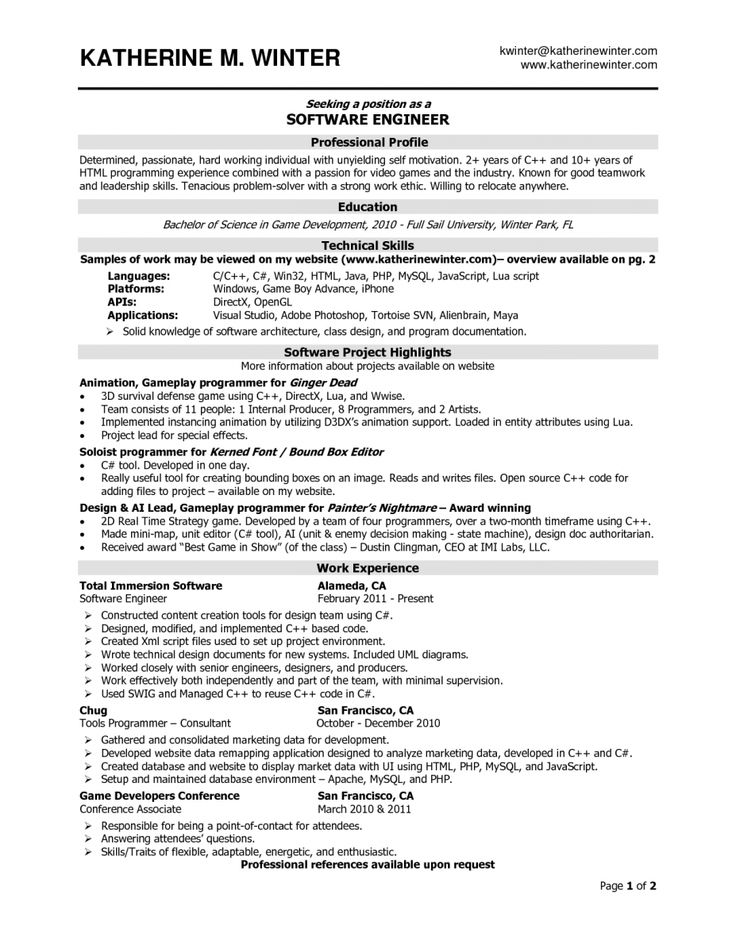 7 best Resume images on Pinterest My cv, Resume and Marketing resume - software engineer resume example